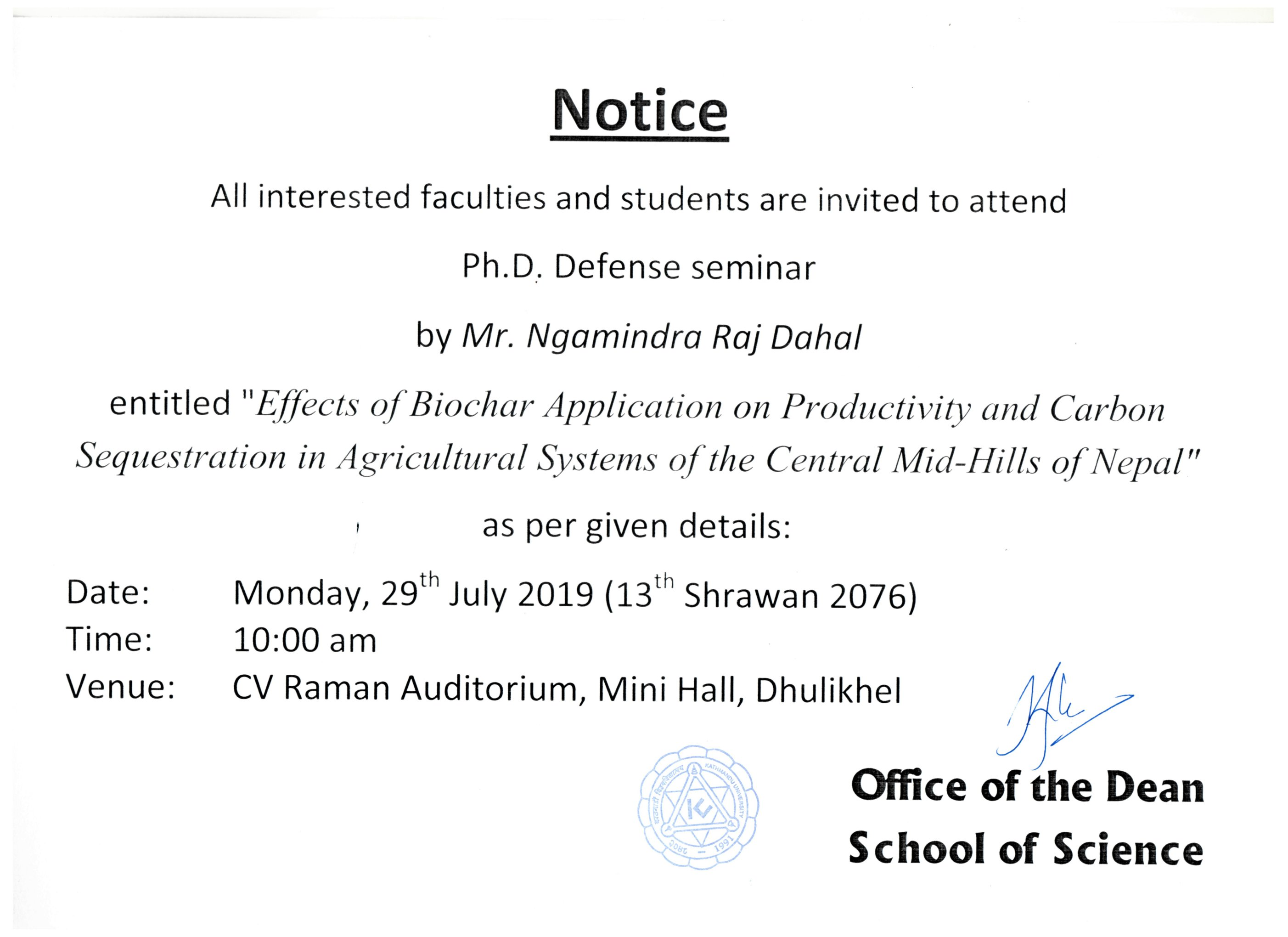 Ph. D Defence of Ngamindra Dahal