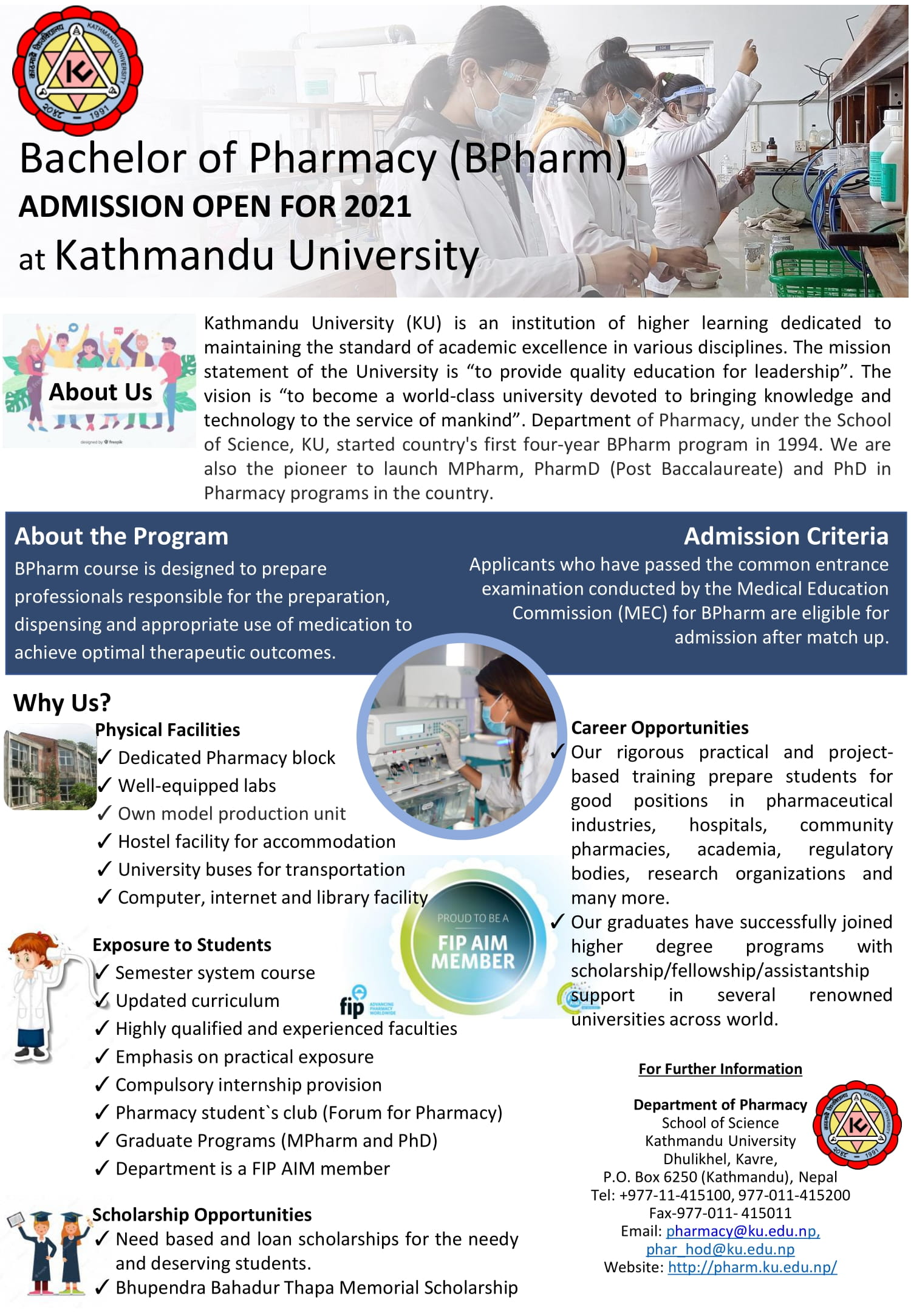 ADMISSION OPEN FOR 2021 Bachelor of Pharmacy (BPharm) at KUSOS