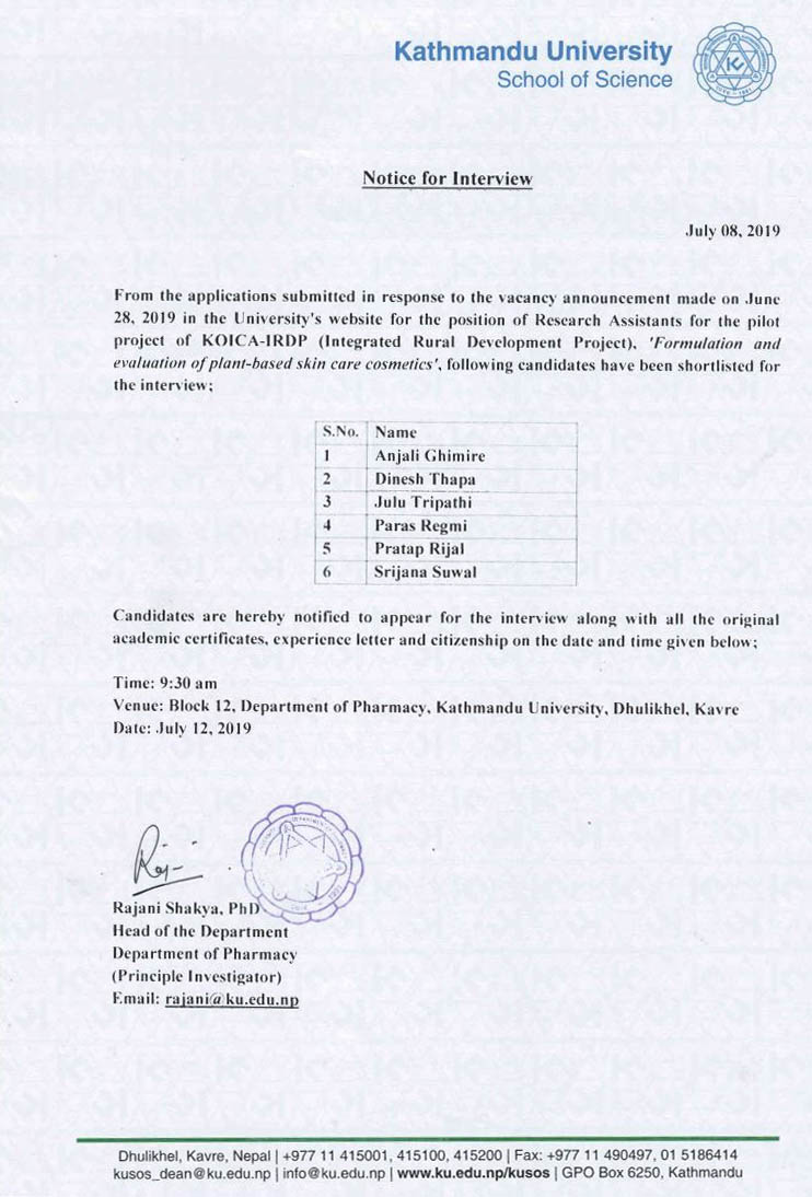 Call for the interview for the interview of RA at Department of Pharmacy